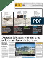Detectan debilitamiento del talud de los acantilados de Barranco