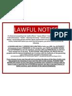 LAWFUL NOTICE-NO TRESPASS