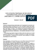 EXPLOTACION TEMPRANA DE RECURSOS COSTEROS EN EL SITIO BLACK CREEK (4000-2500 AP), CARIBE SUR DE COSTA RICA