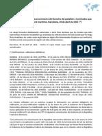Declaración relativa al reconocimiento del derecho del pabellón a los Estados que no poseen litoral marítimo. Barcelona, 20 de abril de 1921