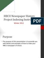 HBCU Newspaper Indexing Instructions