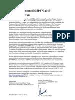 Informasi Umum SNMPTN 2013