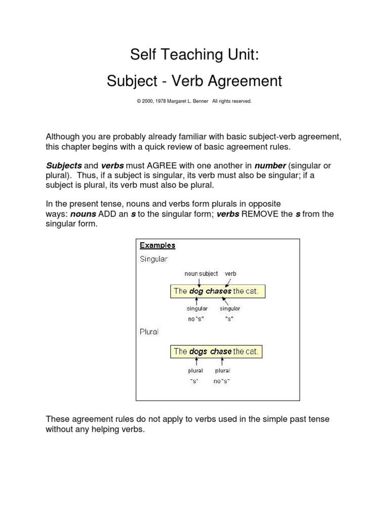 Subject Verb Agreementitcx Grammatical Number Subject Grammar