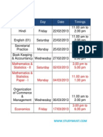 HSC TIMETABLE 2013 COMMERCE