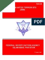 MOST WANTED TERRORISTS List Of FIA Pakistan 2009