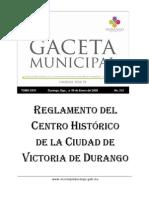 Reglamento Del Centro Historico de Durango 2009