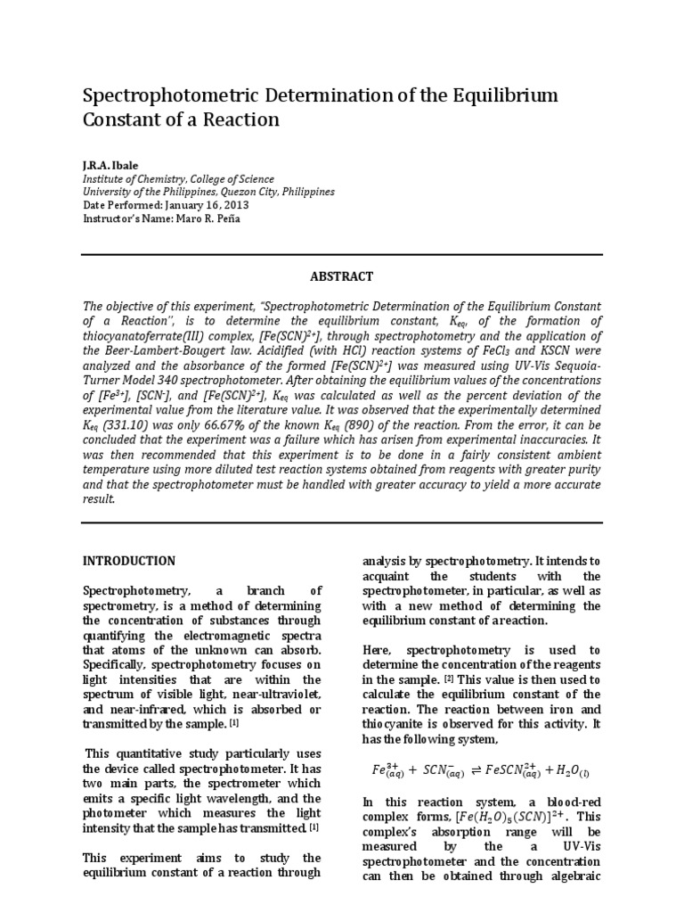 Formal Report Experiment 5 Rdr Spectrophotometry Chemical
