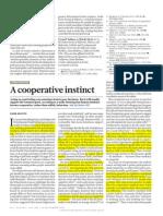 Nature Paper - A Cooperative Instinct 489374a