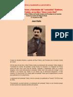 Stalin - Sobre Las Distorsiones y Falsedades Del 'Comunista' Eastman, Amigo de Trotsky, En Su Libro 'Since Lenin Died' (1925)