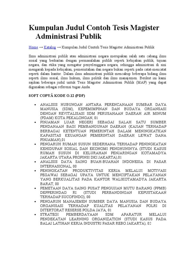 Kumpulan Judul Contoh Tesis Magister Administrasi Publik Doc