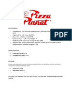 Menu for Disney Hollywood Studios Pizza Planet