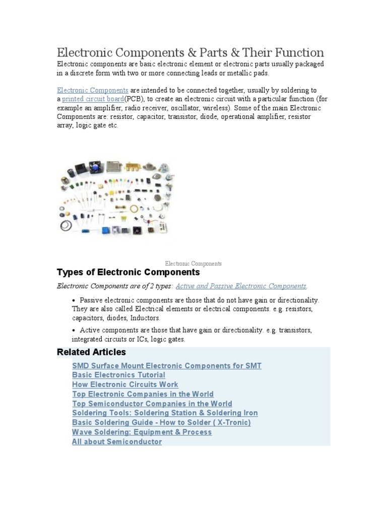 Electronic Components Component Electronics Printed Circuit Board Of Transistors Capacitors And Other
