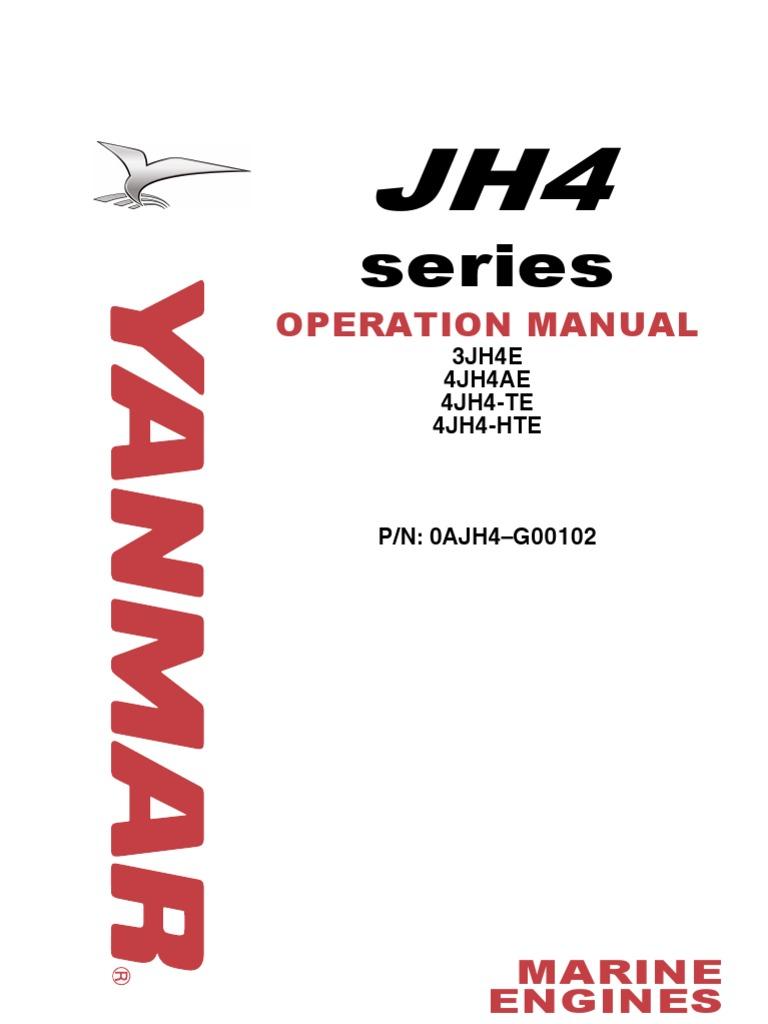 Yanmar Jh4 Marine Diesel Operations Manual Internal Combustion Wiring Diagram F 14 Engine Motor Oil