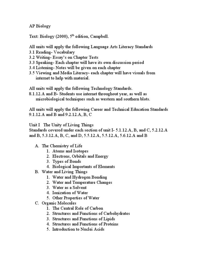 Ap biology chapter 3 5 test