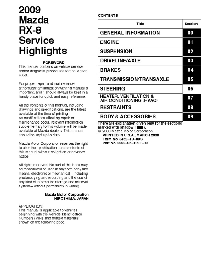 Sanyo Automedia Wiring Diagram Sirius Free Download Diagrams For Mazda Rx 8 Service Highlight 2009 Electrical Impedance Relay