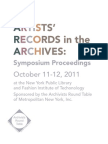 Artists' Records in the Archives