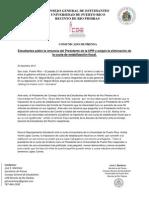 ESTUDIANTES PIDEN RENUNCIA PRESIDENTE UPR COMUNICADO DE PRENSA