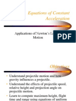 Equations of constant accelerations