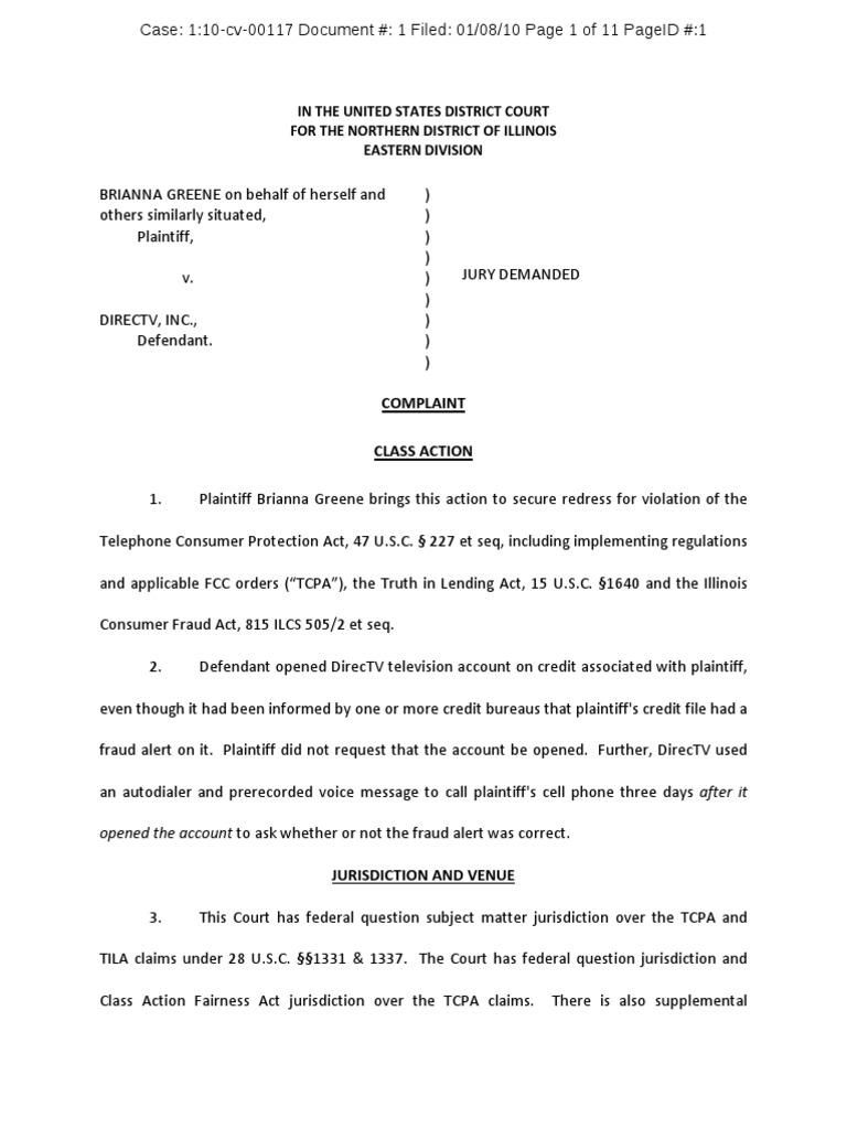 Greene v directv inc tcpa complaint class action lawsuit biocorpaavc Choice Image