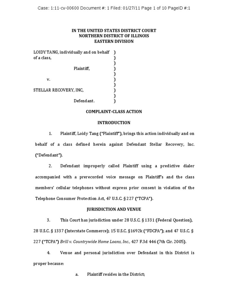 class action tcpa complaint tang v stellar recovery inc lawsuit