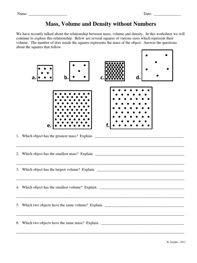 Mass Volume and Density without Numbers Density – Density Mass Volume Worksheet