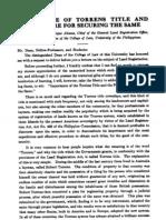 PLJ Volume 2 Number 9 -02- Enrique Altavas - Importance of Torrens Title and Procedure for Securing the Same