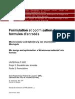 Formulation et optimisation des formules d'enrobés