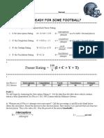 Quarterback Passer Rating Worksheets