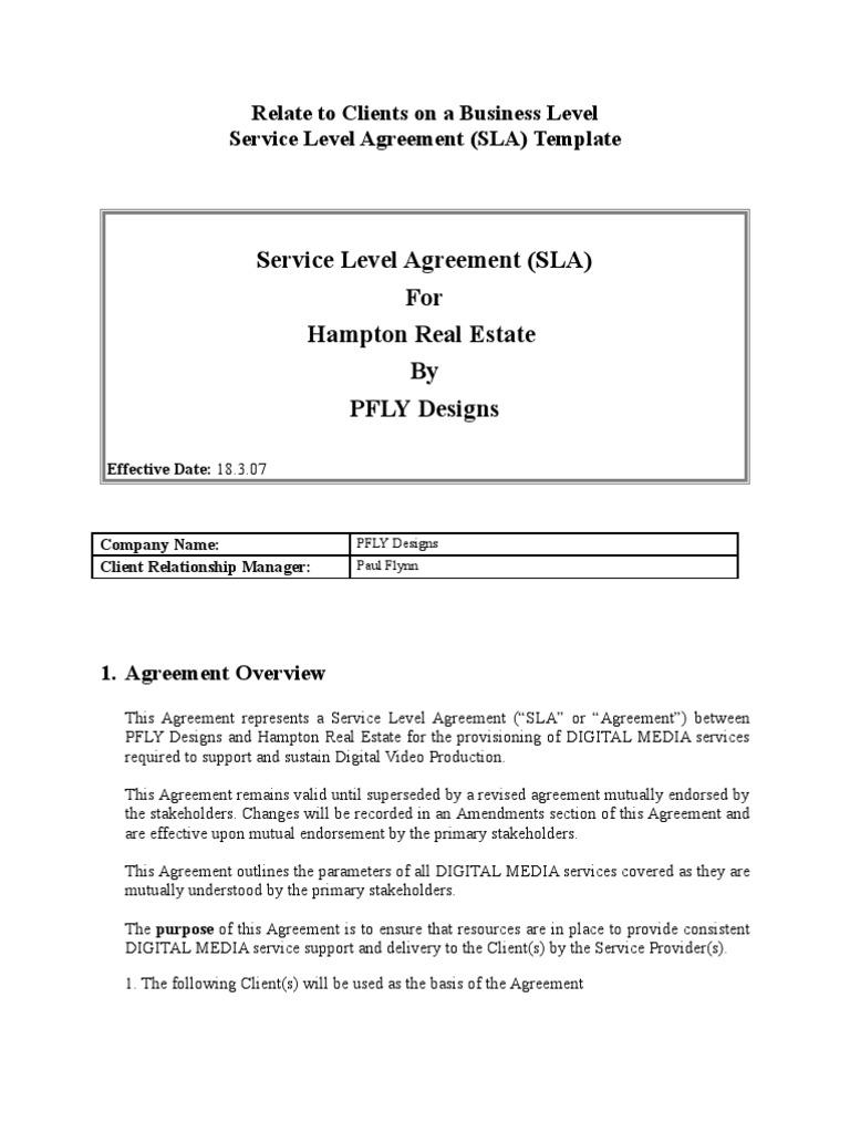 Sla Template Service Level Agreement Business