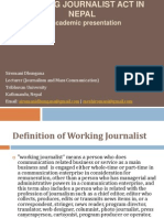 Working Journalist Act in Nepal