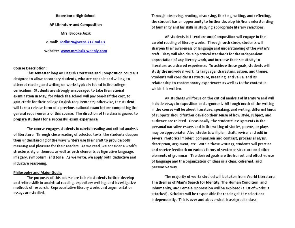 Ap Literature Syllabus Revised Poetry Essays