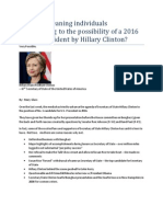 Are well-meaning individuals overreacting to the possibility of a 2016 bid for President by Hillary Clinton?