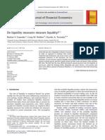 Do Liquidity Measures Measure Liquidity by Goyenko, Holden, And Trzcinka (JFE 2009)