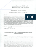 The Sarbanes-Oxley Act of 2002 and Capital Market Behavior Early Evidence by Jain and Rezaee (2006 CAR)