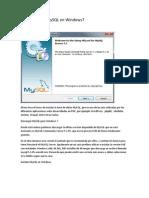 Instalación de MySQL en Windows7 base de datos