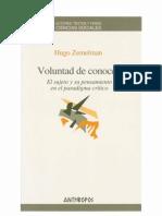 Libro- Voluntad de Conocer- Hugo Zemelman