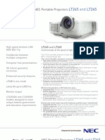 NEC LT265 Projector Spec Sheet