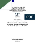 Electrodeposicion y Caracterizacionde Laminas de CuO Aplicacion Como Electrodos de Baterias de Ion Litio