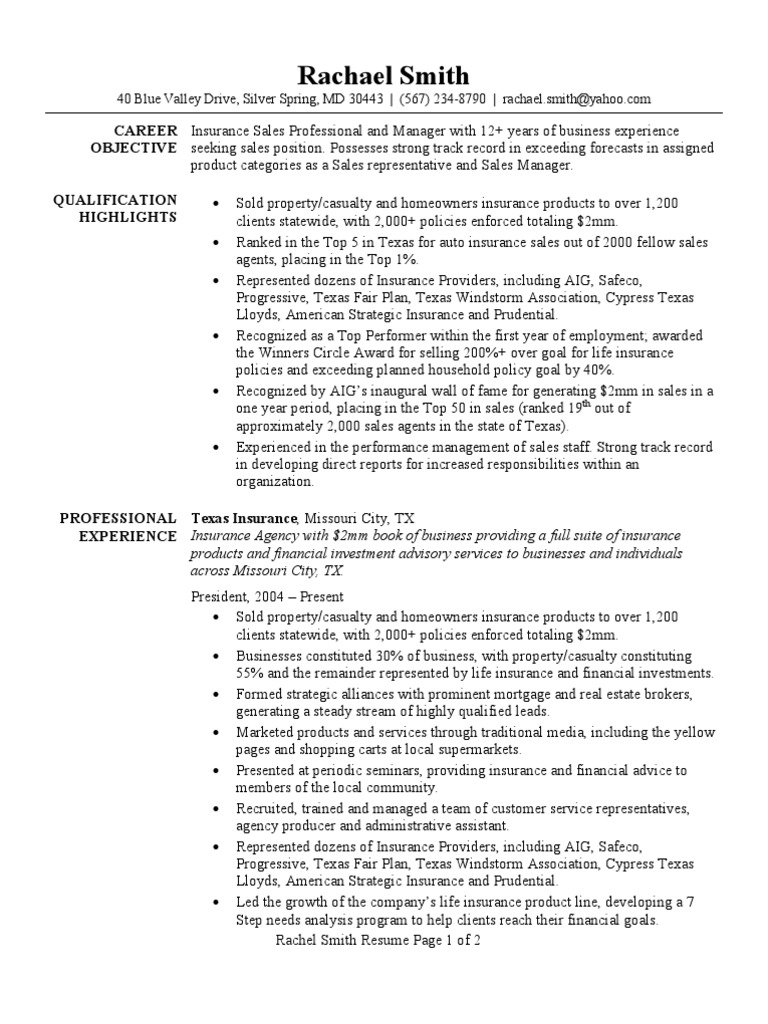 property and casualty insurance resume