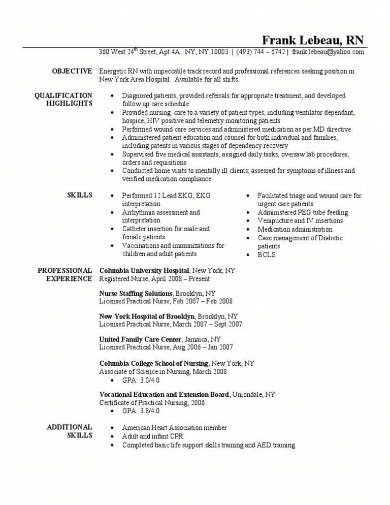Registered Nurse Resume Sample Nursing Patient