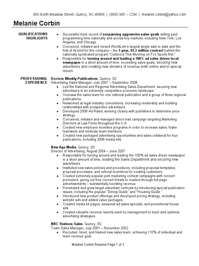 Advertising sales manager resume sample sales advertising pronofoot35fo Image collections
