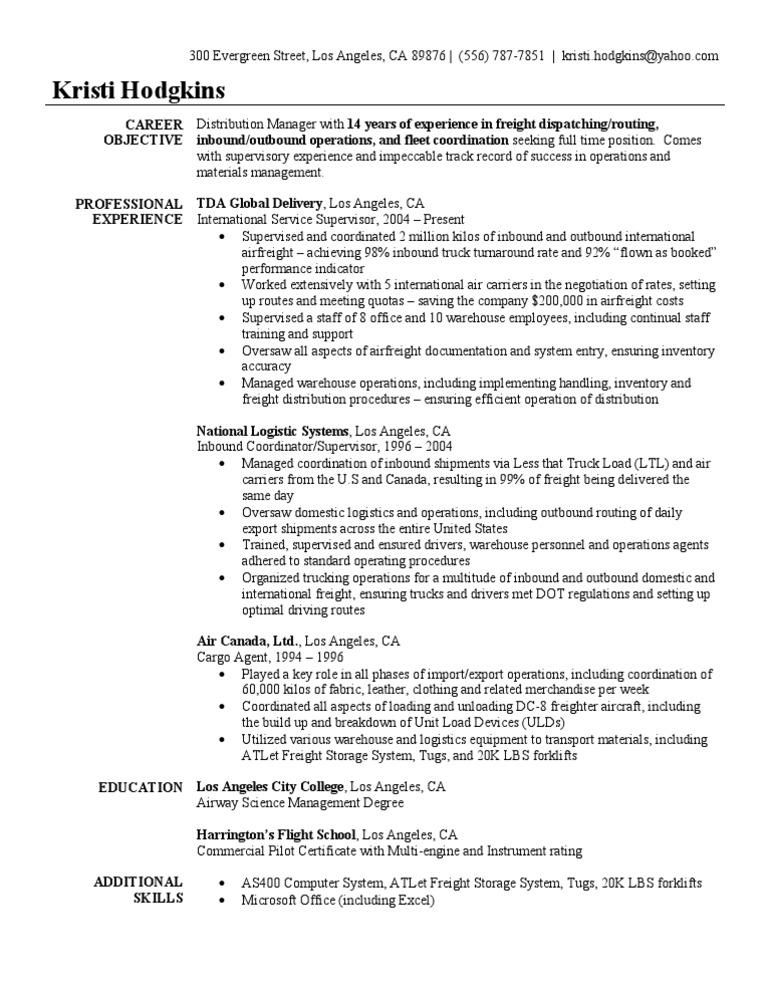 air cargo supervisor resume sample