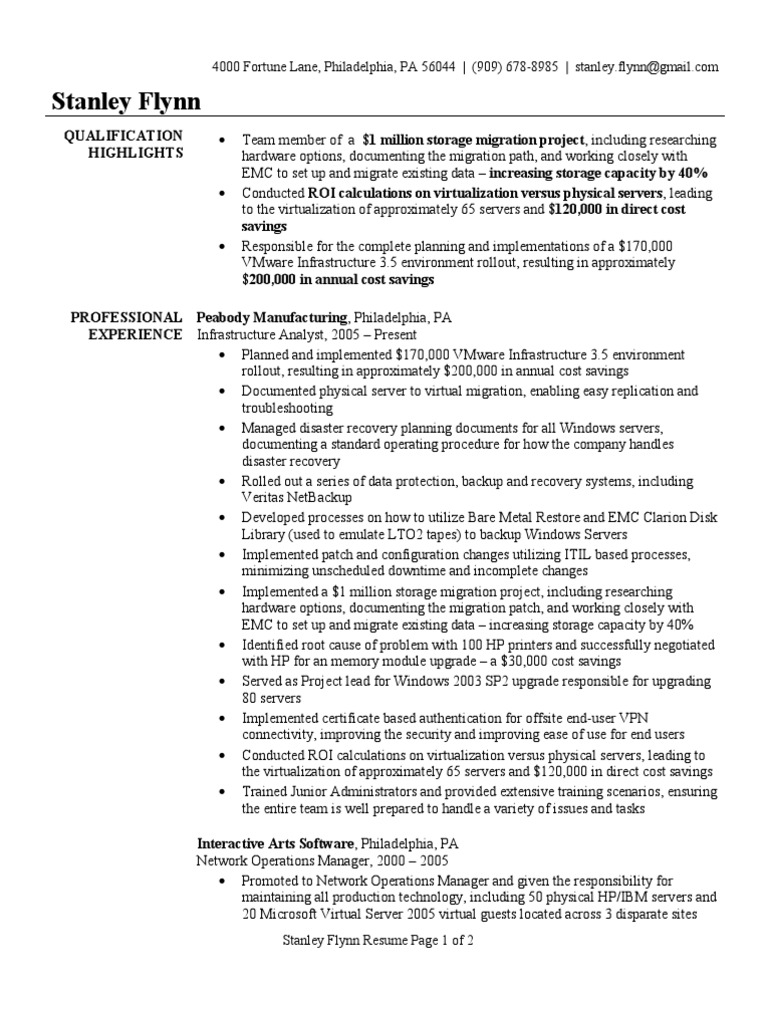 Infrastructure Analyst Resume Sample Windows Server 2003