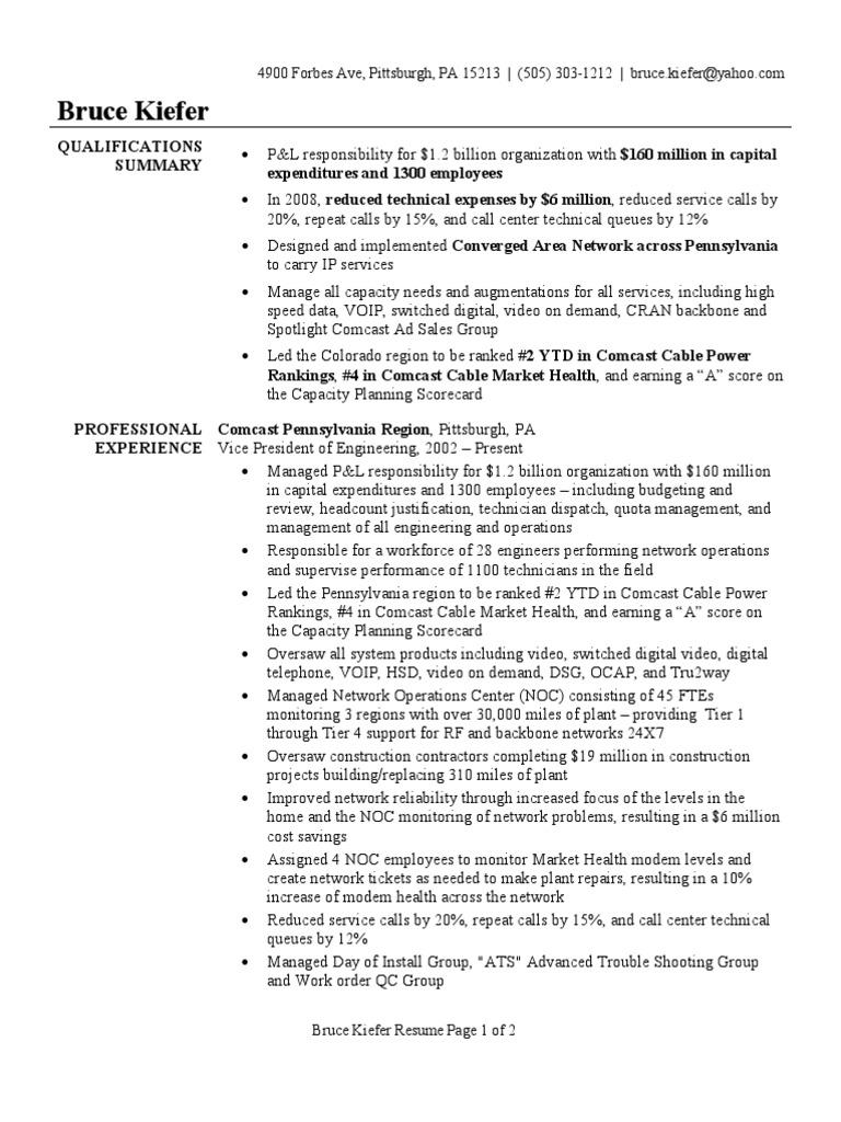 vp of engineering resume sample comcast voice over ip - Network Technician Sample Resume