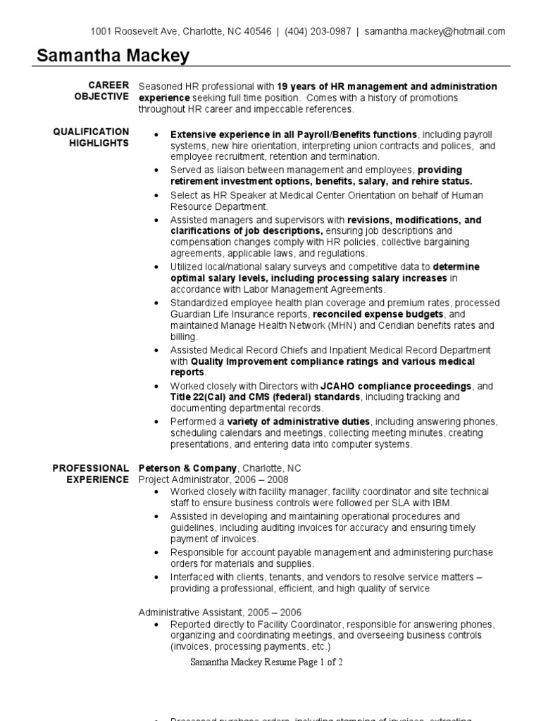 HR Administrator Resume Sample | Employment | Salary