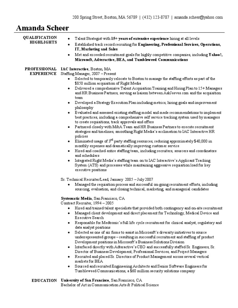 Staffing Recruiter Resume Sample | Recruitment | Mergers And ...