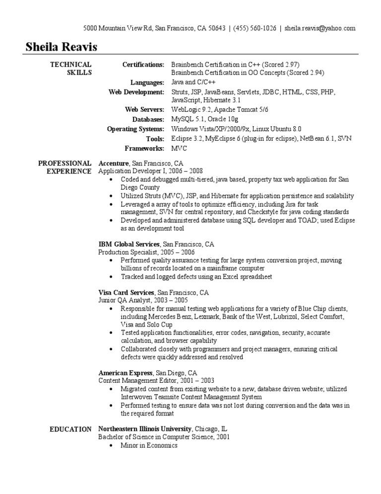 application developer resume