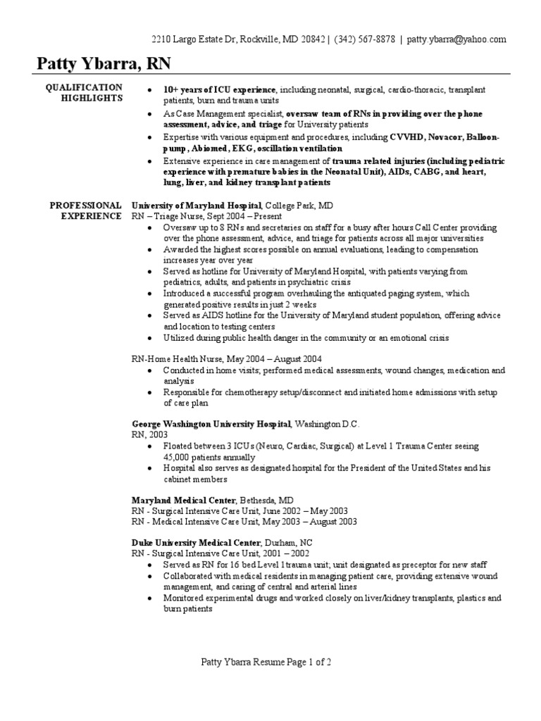 emergency room nurse resume example Cover Letters
