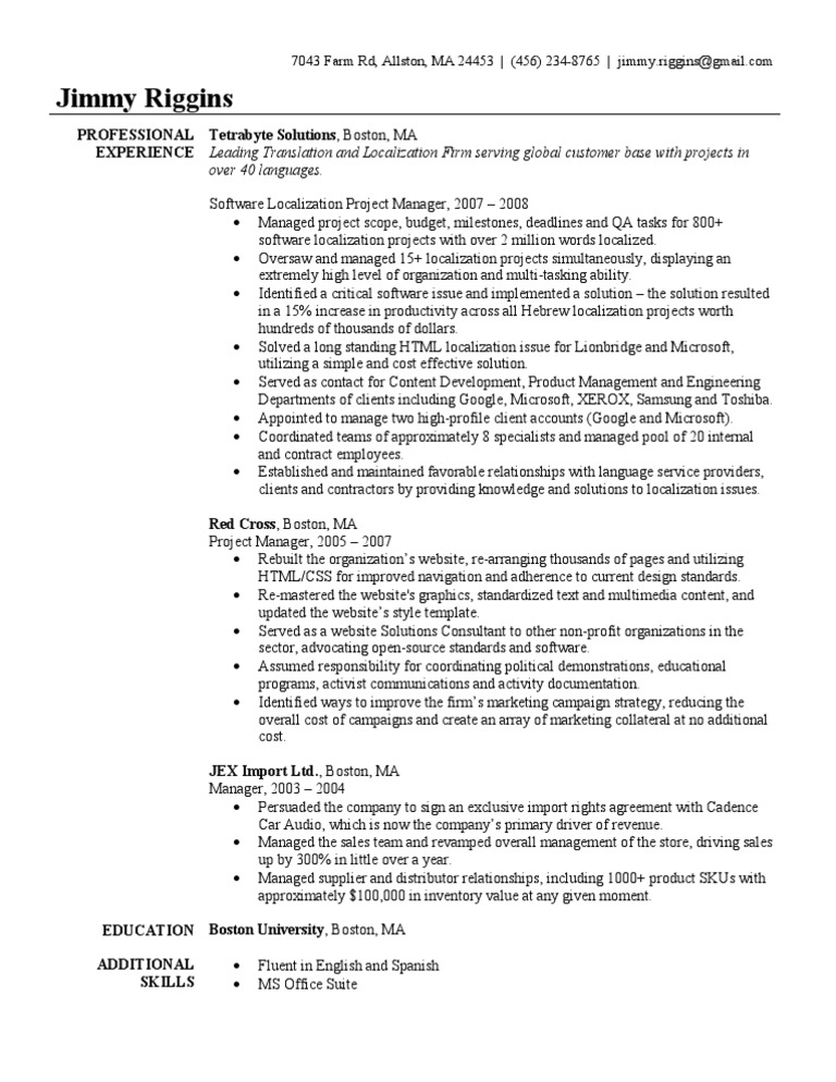 Project Manager Resume Sample | Websites | Project Manager