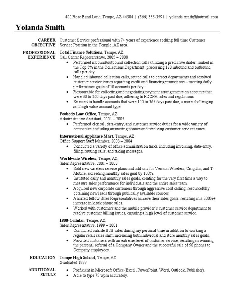 call center rep resumes